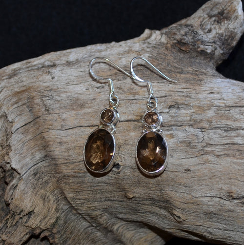 Smoky Quartz 925 Silver Round Oval Drop Facetted Earrings (SI1-12)