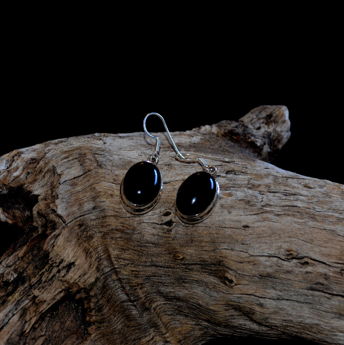 Black Obsidian 925 Sterling Silver Oval Drop Earrings at Illiom Crystals - Afterpay Available
