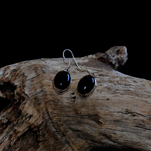 Black Obsidian 925 Silver Oval Drop Earrings (SI1-16B)