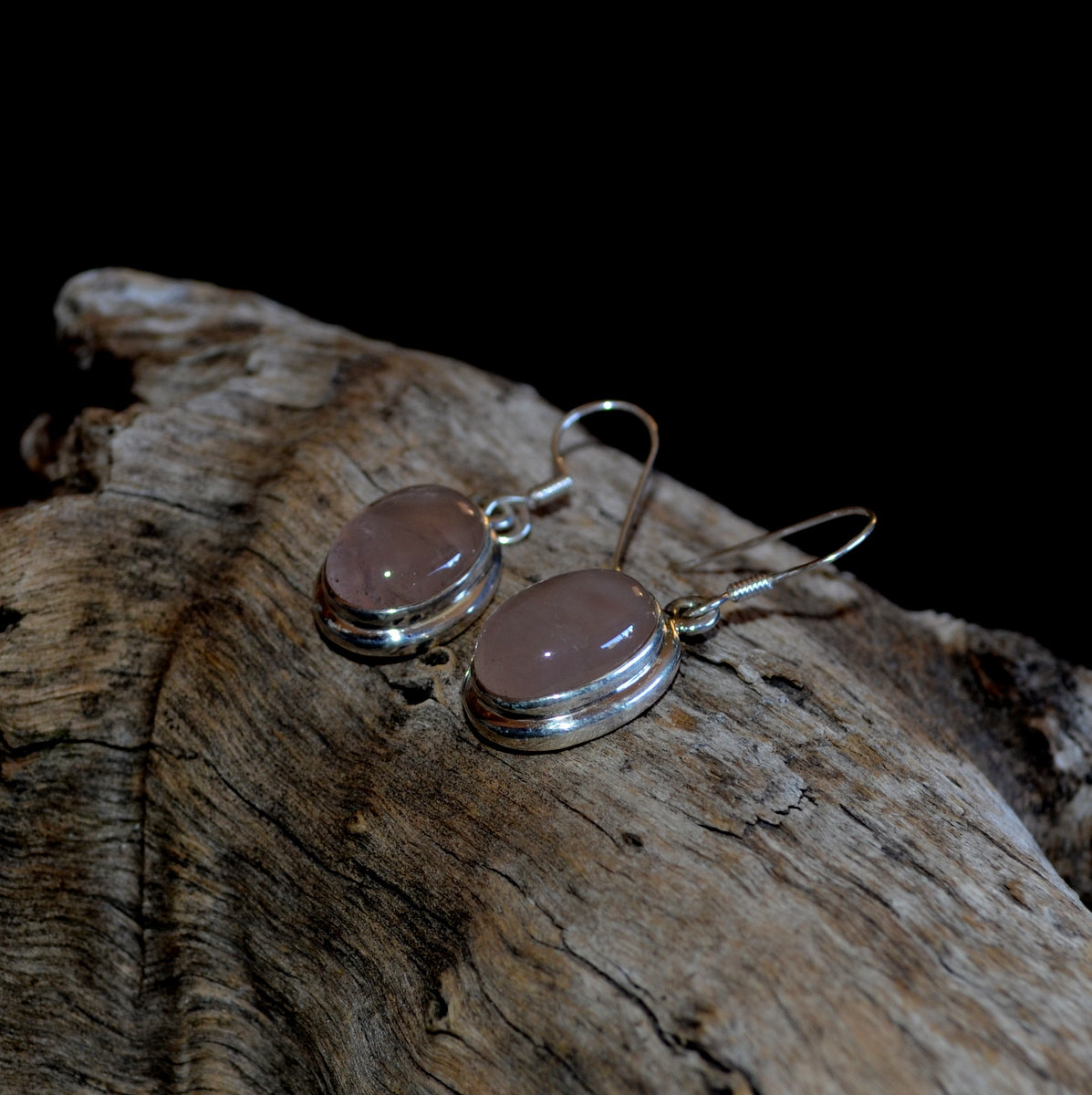 Rose Quartz 925 Sterling Silver Oval Drop Earrings at Illiom Crystals - Afterpay Available
