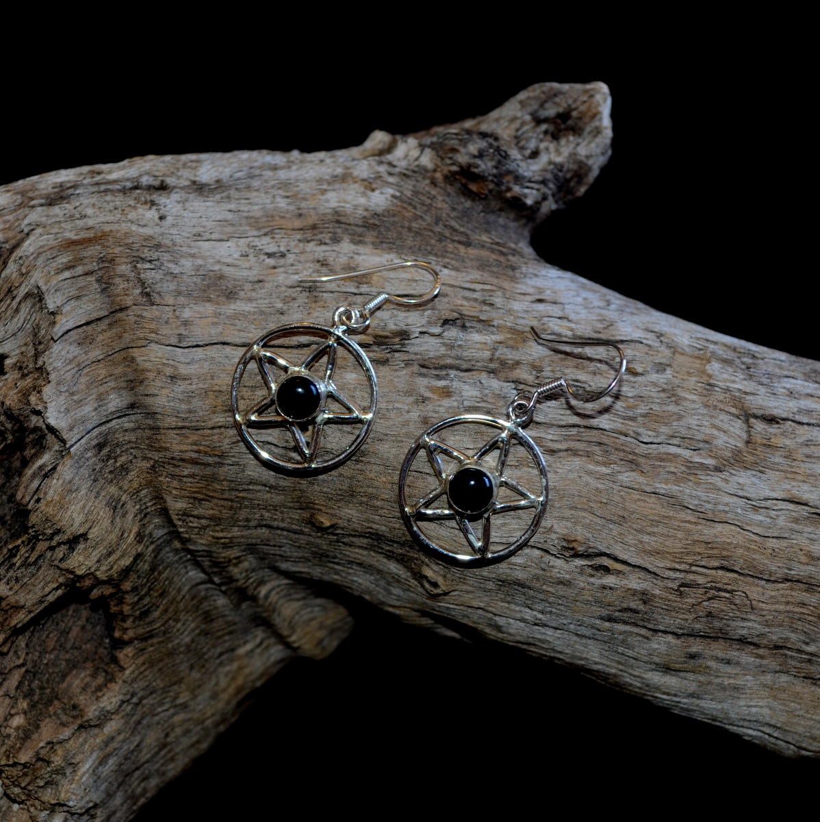 Black Obsidian Pentagram 925 Sterling Silver Earrings at Illiom Crystals - Afterpay Available