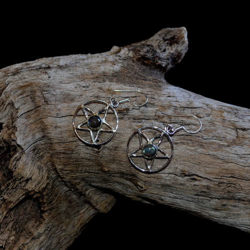 Labradorite 925 Silver Pentagram Handcrafted Drop Earrings (SI1-33LAB)