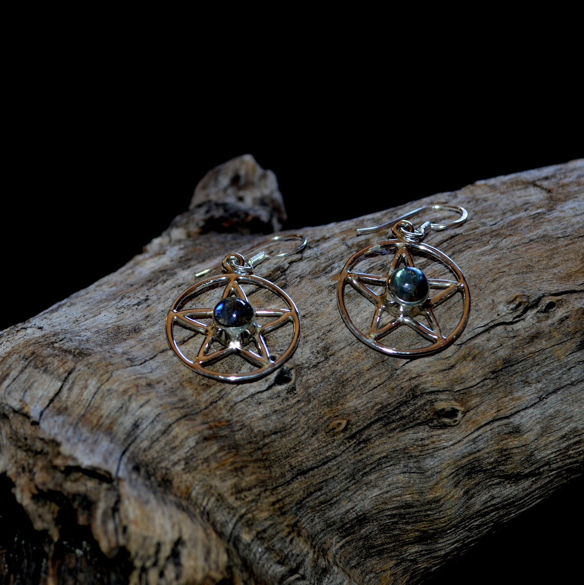 Labradorite Pentagram 925 Sterling Silver Earrings at Illiom Crystals - Afterpay Available