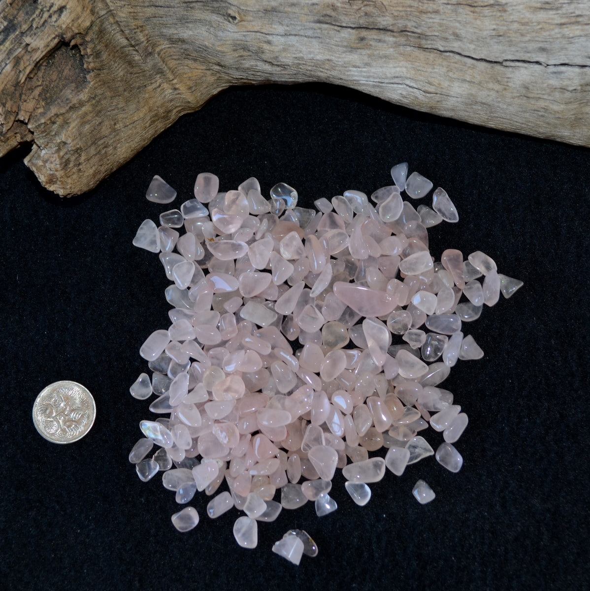 Rose Quartz Mini Polished Tumbles/Chips 100gms Each (T24-10R)