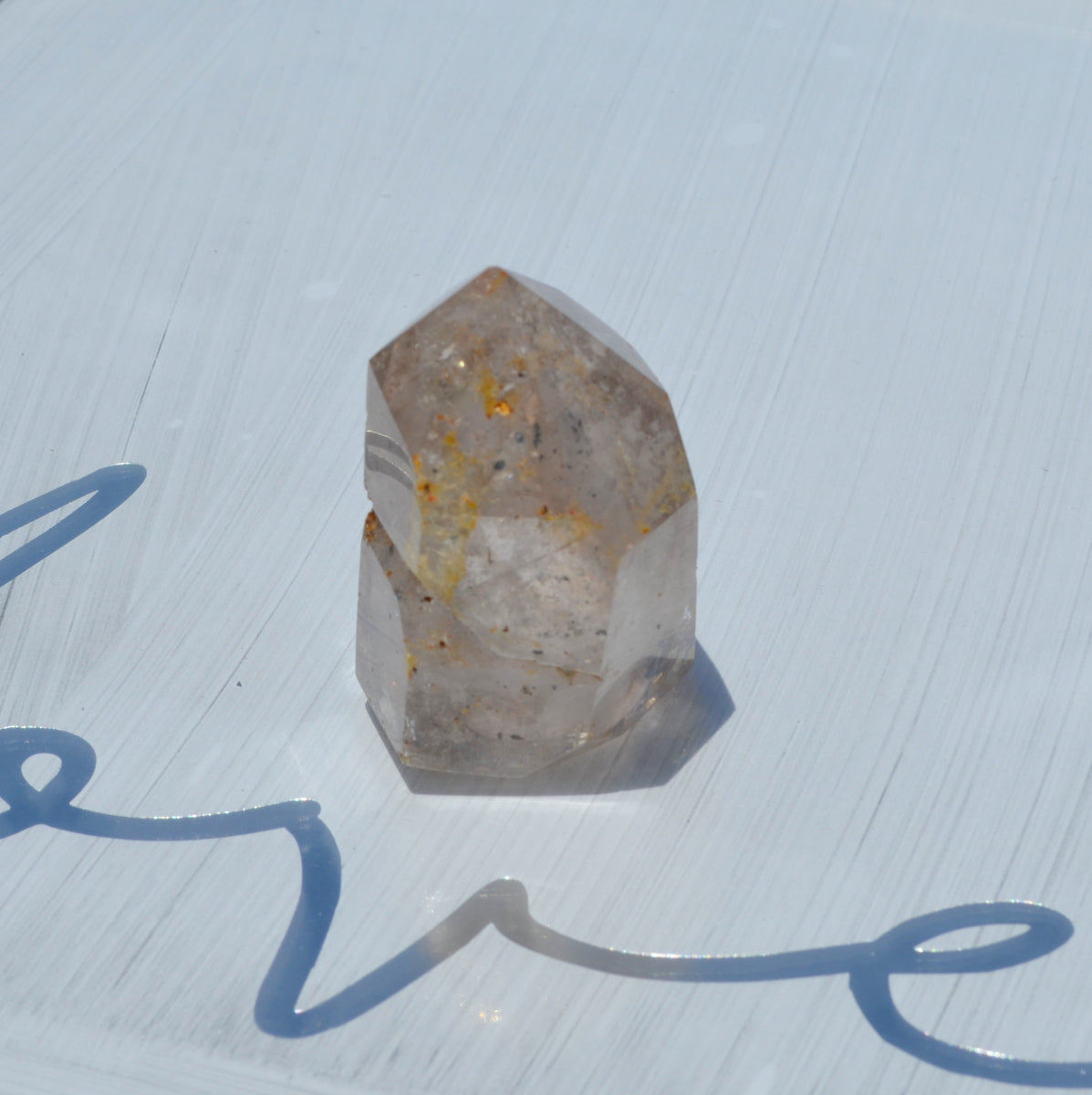 Clear Smoky Limonite Hematite Included Skeletal Polished Quartz Point - Shop Now at Illiom Crystals - Afterpay Available