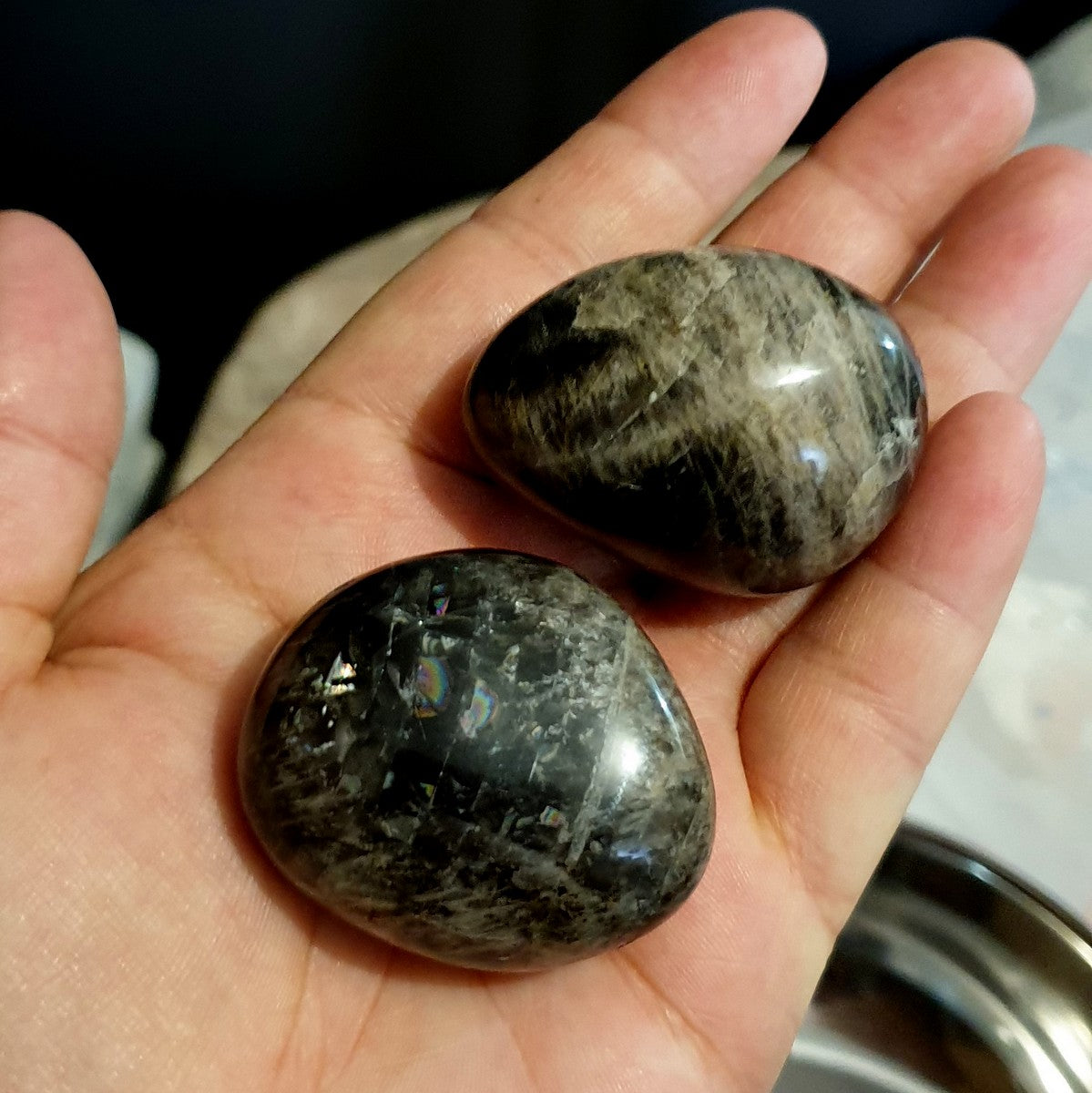 Black Moonstone Extra Large Tumbles Tumbled Stone - Shop with Afterpay at Illiom Crystals