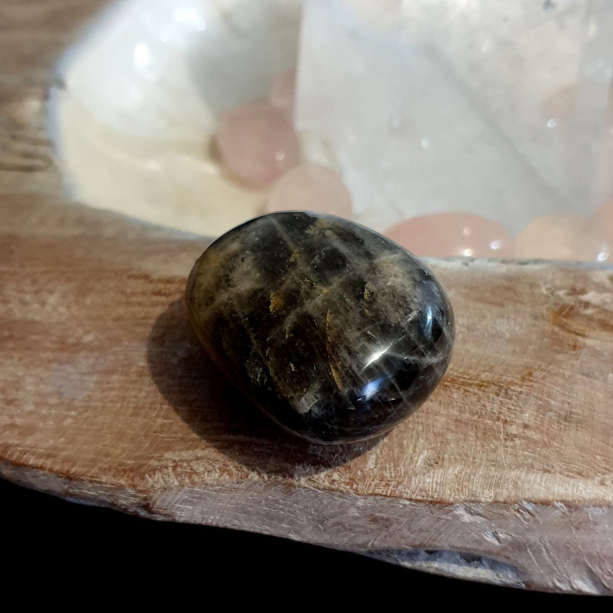 Black Moonstone Palmstone - Shop with Afterpay at Illiom Crystals