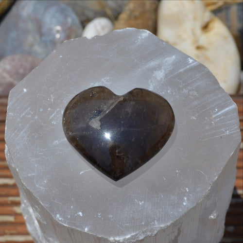 Morion Smoky Quartz Gemstone Heart (T58-14J)