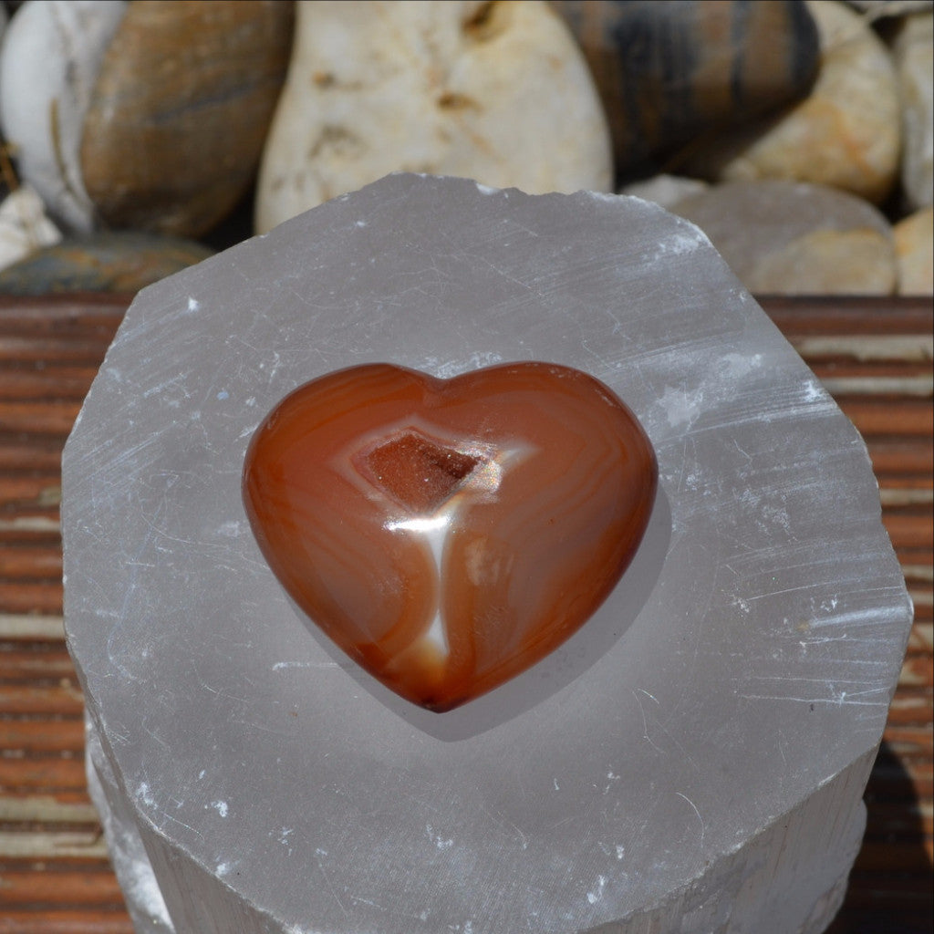 Carnelian Puffy Gemstone Heart Madagascar