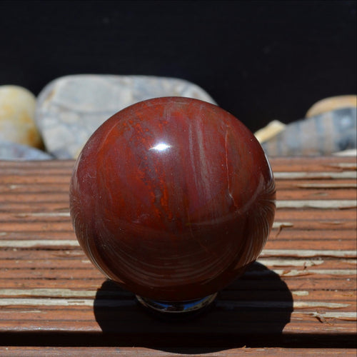 Petrified Wood Gemstone Fossil Sphere Madagascar A Grade (T62-9F)