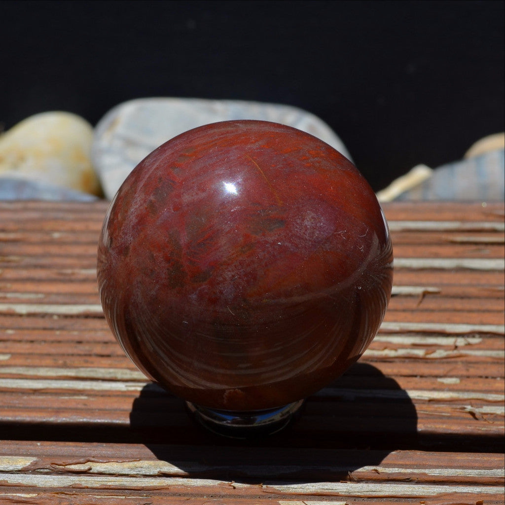 Petrified Wood Gemstone Fossil Sphere Madagascar A Grade