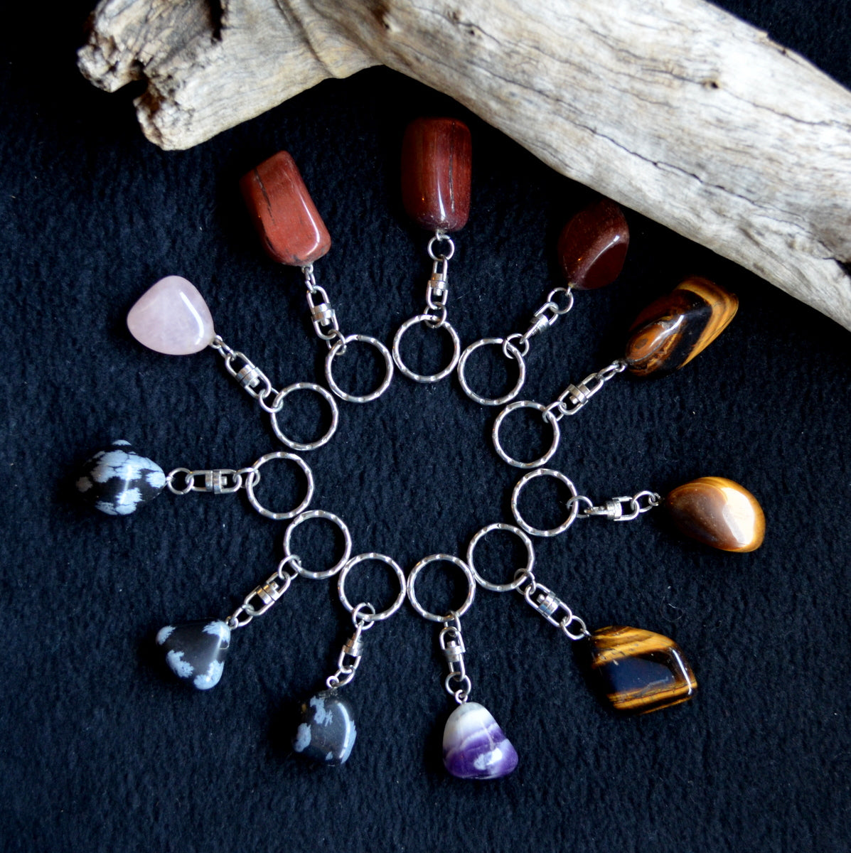 Gorgeous Gemstone Keyrings Assorted Each - Tiger Eye Rose Quartz Chevron Amethyst Snowflake Obsidian - New at Illiom Crystals - We have Afterpay!