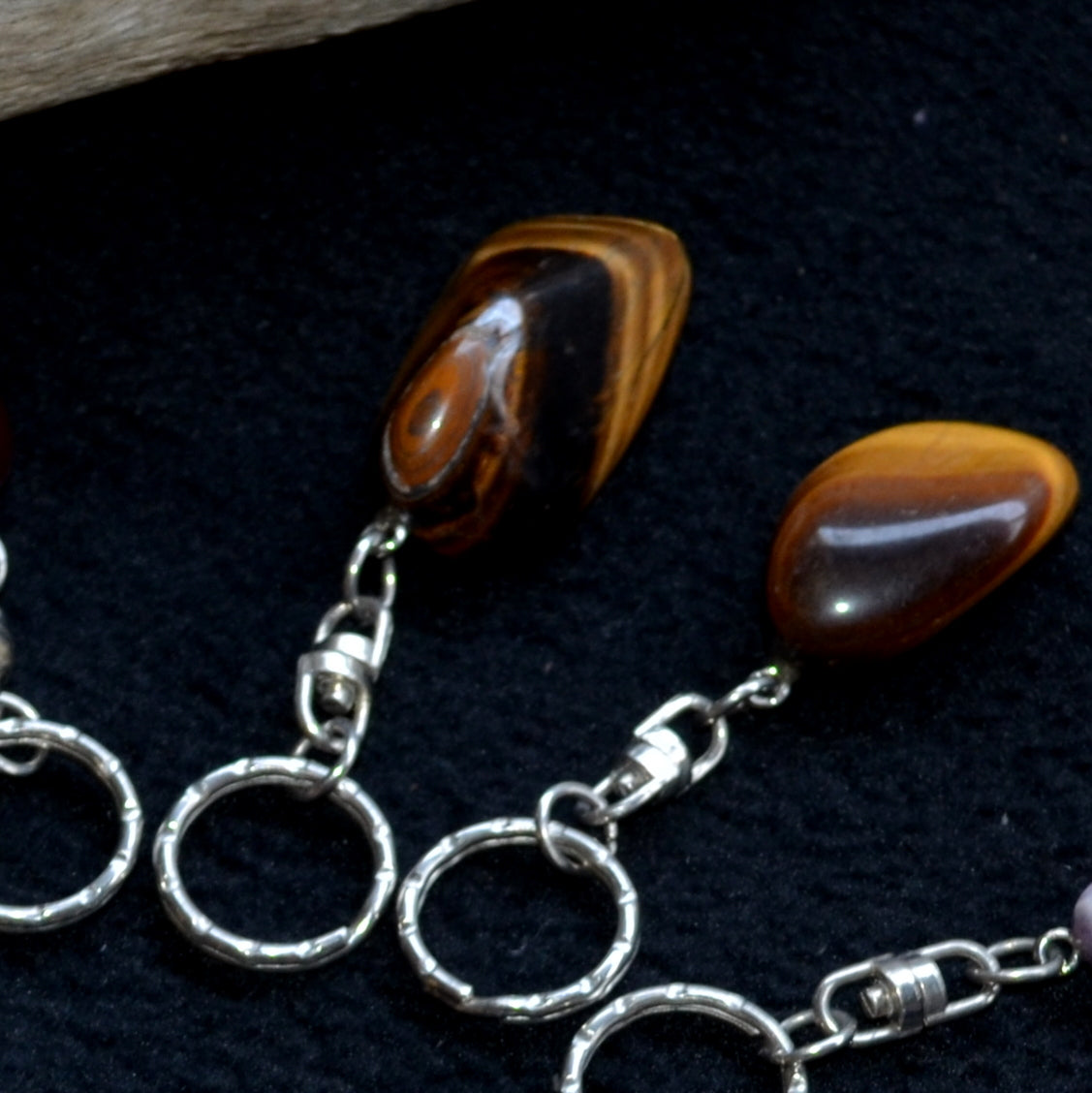 Gorgeous Gemstone Keyrings Assorted Each - Gold Tiger Eye - New at Illiom Crystals - We have Afterpay!