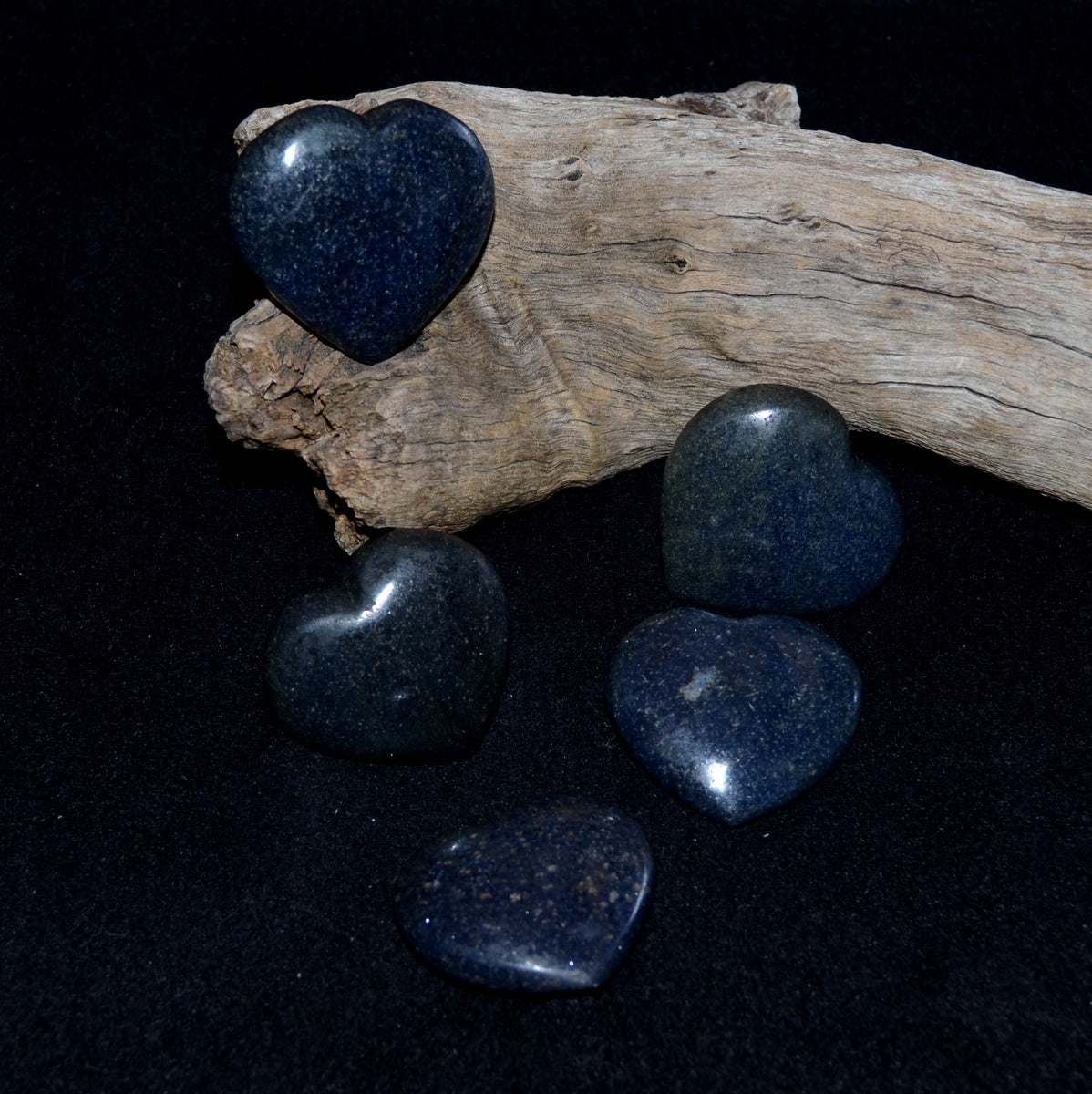Lazulite Gemstone Hearts Each - Intuition Calming Meditation - Shop Now at Illiom Crystals - Afterpay Available