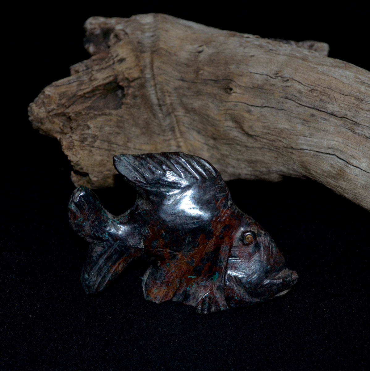 Shattuckite Cuprite Chrysocolla Hand Carved Fish - Humanity Spiritual Protective Grounding - Shop Now at Illiom Crystals - Afterpay Available