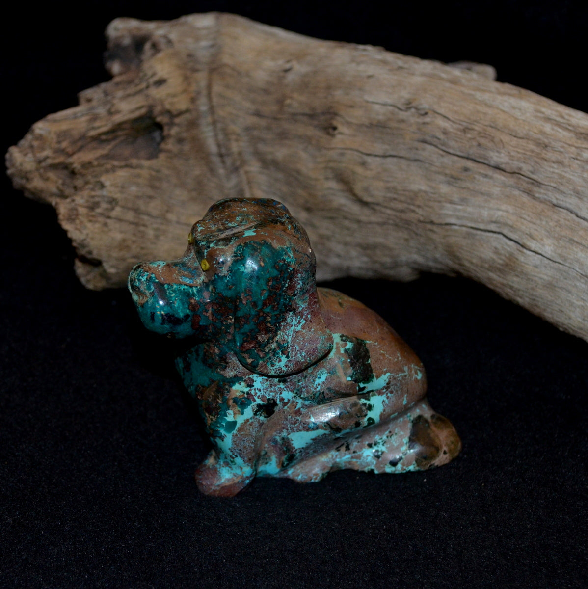 Shattuckite Dioptase Cuprite Chrysocolla Hand Carved Dog - Compassion Humanity Spiritual Protective Grounding - Shop Now at Illiom Crystals - Afterpay Available