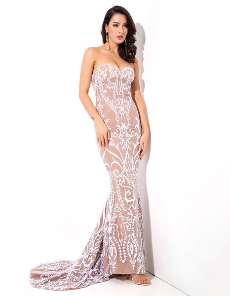 Victoria long maxi Strapless Dress -White