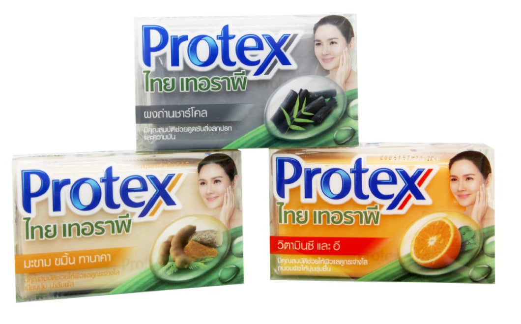 Protex Thai Therapy Soap Bar Vitamin C & E, Tamarind Turmeric & Thanaka, Charcoal, Mix 3 Pieces