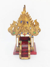 Thai Spirit House SanPraPhum Thai Buddhist Wood Carving Decorated by Color Mosiac Glasses for Spiritual Haunted Spirit House Temple