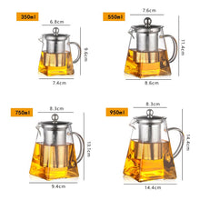 Heat Resistant Glass Teapot With Stainless Steel Infuser Heated Container Tea Pot Good Clear Kettle Square Filter Baskets