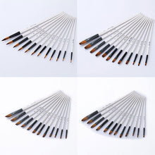 12pcs Nylon Hair Wooden Handle Watercolor Paint Brush Pen Set For Learning Diy Oil Acrylic Painting Art Paint Brushes