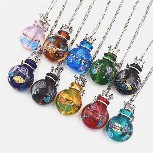 1pcs round Diffuser Perfume Refillable Coloured handmade Essential Oil Aromatherapy Bottle Pendant Necklace pendant necklace