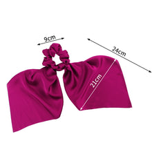 DIY Solid/Floral Print Bow Satin Long Ribbon Ponytail Scarf Hair Tie Scrunchies Women Girls Elastic Hair Bands Hair Accessories