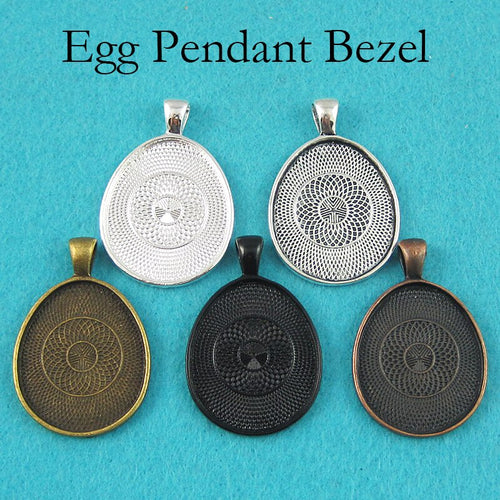 500 pcs - 25x30mm Egg Pendant Tray, Egg Pendant Settings, Egg Glass Cabochon Setting for Glass or Resin Necklace Making
