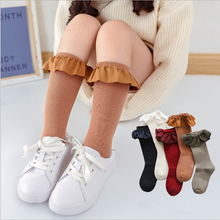 Children's knee high Girls socks for kids with Lace Stuff Ruffle Socks Kid Princess Girls Baby Leg Warmers Cotton