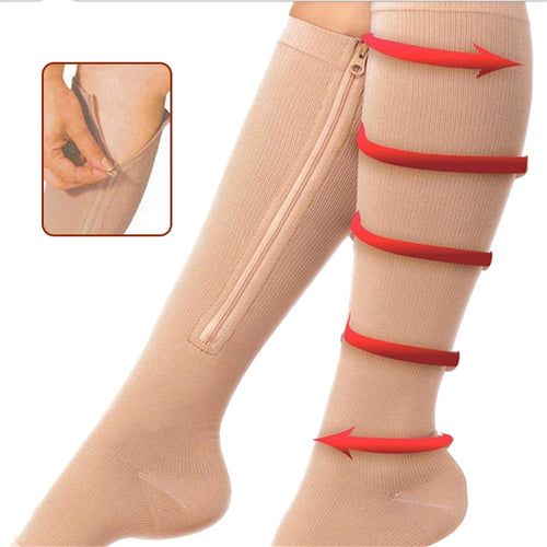Burn Fat Zipper Socks Functional Compression Slim Sleeping Beauty Leg Shapper Socks Prevent Varicose Veins Socks