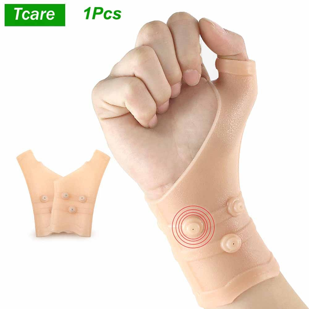 Tcare 1Pcs Gel Wrist Compression Thumb Support Carpal Tunnel Elastic Silicone Wrist Support Brace for Tenosynovitis Typing Pain