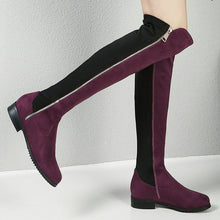 Winter Boots Flock Leather Knee High Comfortable Women Long Boots Black Wine Red Gray
