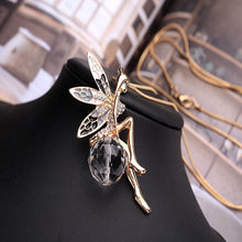 Women Crystal Shiny Fairy Rhinestones Angel Wings Long Chain Party Pendant Necklace Sweater
