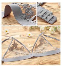 Women Bra set Embroidery Floral Lace underwear Thin brassiere Sexy Lingerie transparent bra set for women
