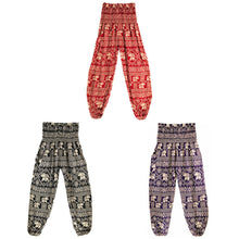 Yoga Pants Printed Loose Thin Lantern Pants Thailand Elephant Series High Waist with Pocket Free Size