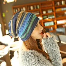 New Arrival Women's Fashion Accessories Autumn Winter Headdress Caps Hat Colorful Striped Scarf Beanies Multi Use - sellhotproducts
