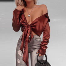 Women Satin Blouse With Bow Tie V-neck Satin Shirt Elegant Long Sleeve