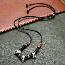 Skull Leather Necklace for Men Boys Wood Beads Adjustable Holloween Costume Vintage Design Male Necklaces