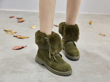 Leather Snow Boots Winter Boots Woman Winter Shoes Pig Split Ladies Platform Booties