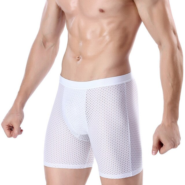 Men Underwear Boxer Shorts Mesh Panties Solid U Convex Pouch Long Leg Plus Size L-4XL
