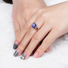 Luxury Sapphire Ring For Women Open Adjust Size With Oval Blue Gemstone 925 Silver Classic Jewelry