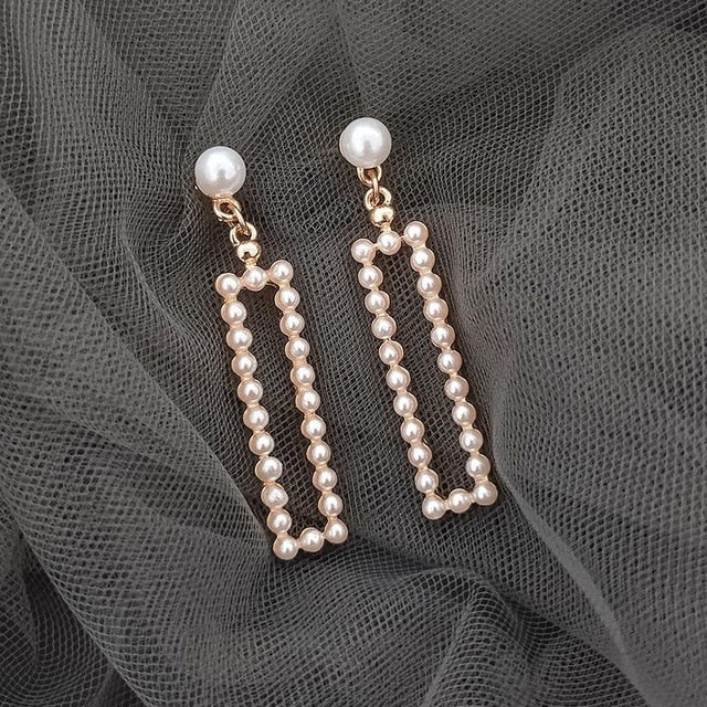 Seaside Holiday Style Square Pearl Fashion Trendy Simple Earrings For Women Accessories Trendy