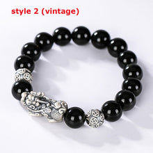 Sterling Silver Pixiu Brave Troops Bangles&Bracelets Vintage Mantra Beads Couple Bracelet for Fine Jewelry