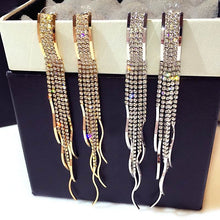 Statement Crystal Tassel Earrings For Women Gold Color Big Long Earrings With Stones Luxury Jewelry
