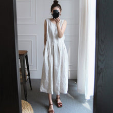 Summer New Sleeveless Large Size Cotton Linen Vintage Women Dresses Loose Casual Korean Dress
