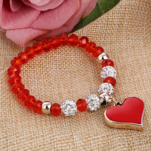 Romantic Vintage Bracelets For Women Heart Pendant Bracelets with Crystal Beads Fit Pan Jewelry - sellhotproducts