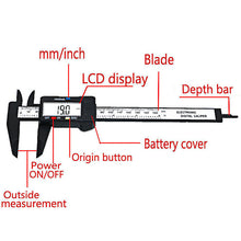 New Arrival 150mm 6 inch LCD Digital Electronic Carbon Fiber Vernier Caliper Gauge Micrometer Measuring Tool