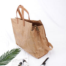 Kraft Paper Tote Bag Women Latest Fashion Handbags Lady Shoulder Paper Totes Messenger Bag Eco Friendly