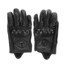 Stylish Leather Motorcycle Gloves Protective Armor Short Gloves M/L/XL Full Finger Without hole For Riding Sports - sellhotproducts