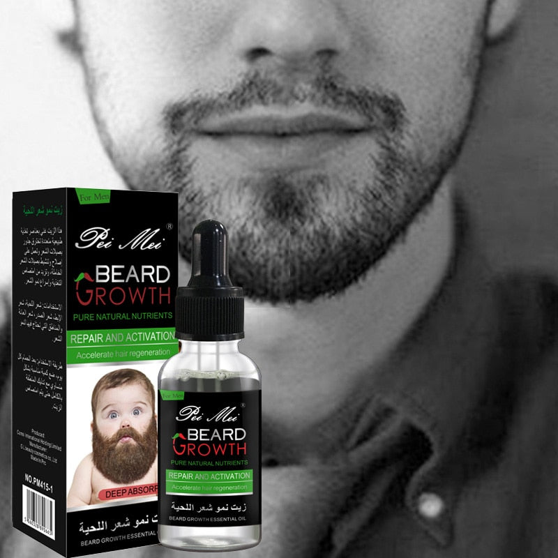 Professional Beard Growth Enhancer Beard Essential Oil for Men Hair Barber Facial Nutrition Moustache Grow Men